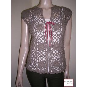 Chaleco Abierto Tejido Crochet Hilo Mujer Primavera