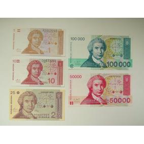 5 Cédulas Da Croácia - (dinar) Antigas Fe ###