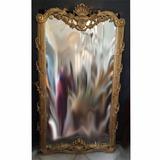 Espelho Estilo Luis Xv Moldura Madeira Folheação A Ouro