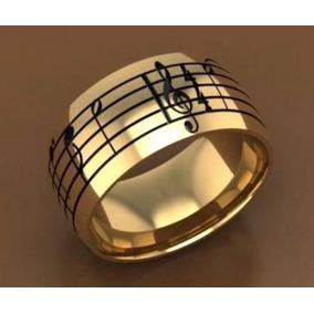 Par De Alianças Ouro 18k 750 9mm 22 Gramas Notas Musicais