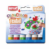 Tempera Sólida Escolar Textil 6 Colores 10 Gr Instant