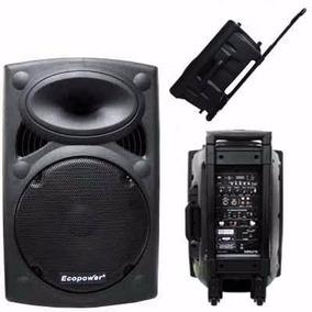 Caixa De Som Ecopower Ep-1291 C/fm Profissional+2 Microfones