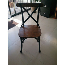 Silla Tiffany Cross Back Metal + Madera Garantia De Por Vida