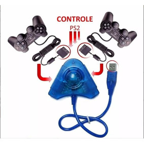 Kit 2 Controles Manetes Joysticks Ps2 Sony + 1 Adap. Usb