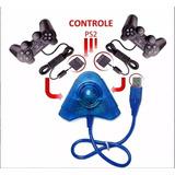 Kit 2 Controles Manetes Joysticks Ps2 Sony + 2 Adap. Usb