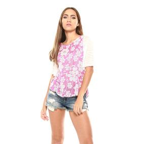 Saints Clothes Blusa Flores Morada Mangas 3/4 Acampanadas