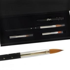 Premium Brush Case 3 Pinceles Para Uñas Esculpidas Thuya