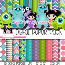 Kit Imprimible Pack Fondos Monsters Inc Clipart
