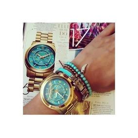 Relógio Michael Kors Mk8315 Dourado Turquesa Frete Grátis - Relógios ... 2a8779ceab