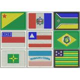 Patch Bordado Bandeira Dos Estados Brasileiros 5x7 C/ Velcro