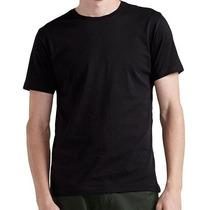 Camiseta Preta Básica Lisa Confeccionada Em Malha Fria Pv