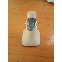 Anillo Aguamarina Rectangular Faceteado Plata Esterlin 0.925