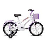 Bicicleta Infantil Aro 16 Breeze Branco E Lilás