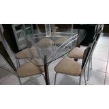 Mesa De Jantar Luxo Triangular Vidro 6 Cadeiras Roberto3d