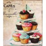 Bolo Cupcake Placa Decoração Retro - Cozinha Copa Lanchonete