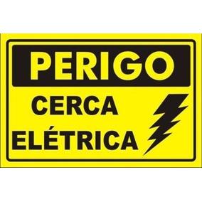 05 Placa Advertência: Perigo Cerca Elétrica Plástico