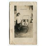 Antigua Foto Postal Niños Bebes En Cochecito