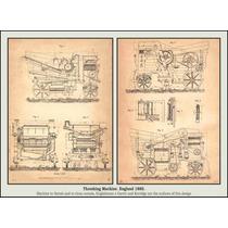 Lienzo Tela Grabado Trilladora Agrícola 1880 50 X 69 Cm