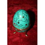 Huevo Faberge De Porcelana Rusia Azul Turquesa Antiguo Flor