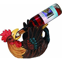 Titular De La Botella De Vino Gallo Pintado A Mano Borde De