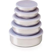 Conjunto 5 Potes Tigelas Inox Com Tampa Plastica Vedante