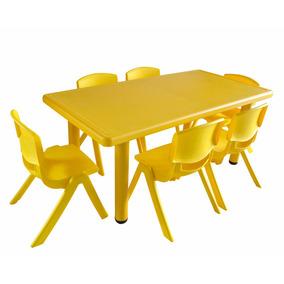 Bingo Mesa Rectangular Para Niños De 6 Plazas Amarillo