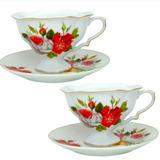 Par De Xícaras De Chá Porcelana Italiana Desenho Floral
