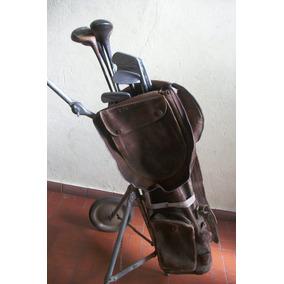 Antiguo Carro Golf Cuero Bolso Y Palos Todo Plegable Deco