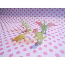 4 Muñecos Dinosaurios De Goma Lote Excelente