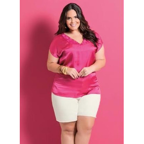 Blusa V Plus Size Feminina ( Roupa Grandes ) Rosa De Cetim