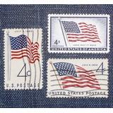 3 Estampillas Stamps 4c Bandera Flag Estados Unidos Usa