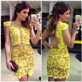 Vestido Curto Amarelo Em Renda - Frete Grátis