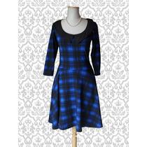 Vestido Pin Up Vintage. Escocés Azul Y Negro. Le Chat Noir