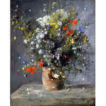 Lienzo Tela Auguste Renoir Flores En Un Jarrón 50 X 70 Cm