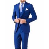 Terno Slim Fit Azul Bic De Luxo Casamento Colete E Gravata L