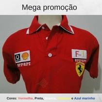 Kit 02 Camisa Polo Ferrari Masculina Bordada Pronto Entrega