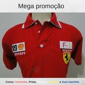 Kit 05 Camisa Polo Ferrari Masculina Bordada Pronto Entrega