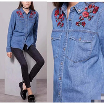 Camisa Blusa Feminina Bordada Flor Jeans Casual Manga Longa