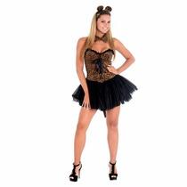 Fantasia Onça Oncinha Feminina Adulto Luxo Vestido Heat Girl