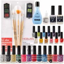 Esmaltes Pincel Manicuria Decoración Uñas Nail Art Heburn
