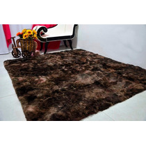Tapete Persa Sala Jantar 1,50x2,00m Marrom Escuro 4cm Peludo