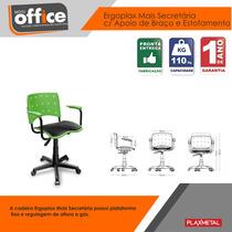 Cadeira Giratória Plástica Secretaria Ergoplax Verde
