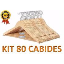 Kit Com 80 Cabides De Madeira. Importado - Melhor Preço!!!