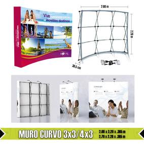 Muro Publicitario Expandible Curvo 3x3 Con Lámparas Y Maleta