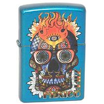 Encendedor Zippo Diseño Dia De Muertos Color Azul