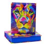 Biblia Leão Color Capa Dura Média Com Harpa  16 Cm