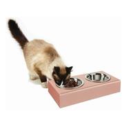 Pote Duplo Para Pet Cão E Gato Pequeno Em Acrílico E Inox