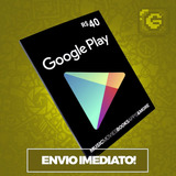 Cartão Google Play Store Gift Card R$40 Reais Brasil Android