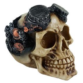 Cranio Caveira Mecanica Engrenagem Decorativo Resina