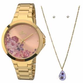 Relógio Allora Feminino Dourado Al2035fag/k4t Colar + Brinco